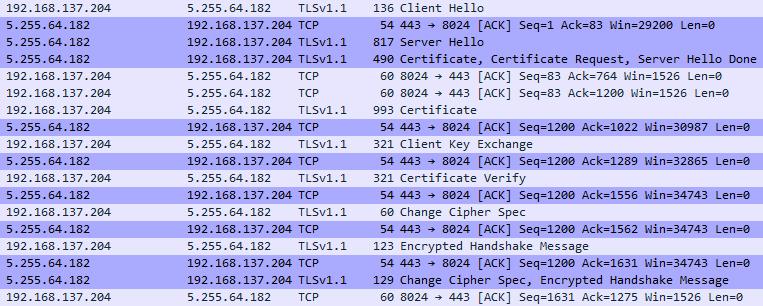 Captured TLSv1.1 handshake between base station and ICY's servers